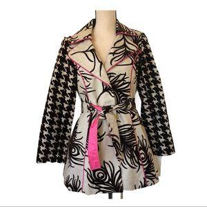 3 Sister Flocked Brown Pattern Belted Jacket • 8